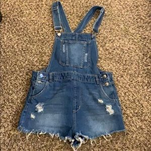 Blue jean DIVIDED Overalls CutOff Shorts Size 10